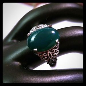 Jewelry - Oval Green Agate Filigree Sterling Silver Ring